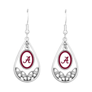 University of Alabama polished silver tone tear drop earrings. Officially licensed collegiate product. (Approx. 2 in L x 1 in W)