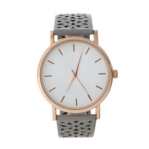 Gray faux leather watch with a perforated pattern on the band.