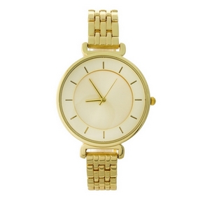 Gold tone, metal band watch featuring a monochromatic face.