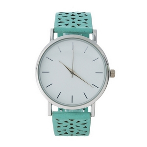 Mint green faux leather watch with a perforated pattern on the band.