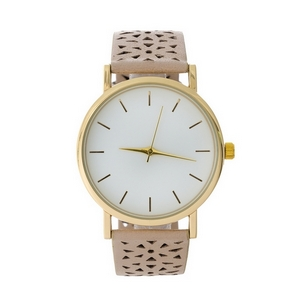 Beige faux leather watch with a perforated pattern on the band.