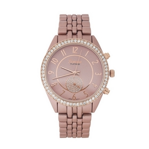 Matte rose gold tone metal watch with a monochromatic face and clear rhinestone accents.