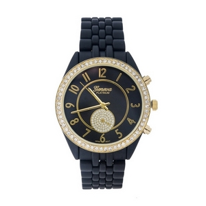 Matte black metal watch with a monochromatic face and clear rhinestone accents.