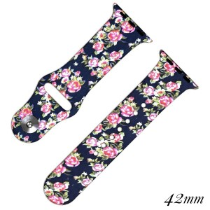 Floral silicone watch band for smart watches. Fits the 38mm or 42mm size smart watch.