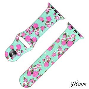 """Floral print silicone watch band for smart watches. Fits the 38mm size smart watch. Fits apple watch Approximate 4"""" in length."""