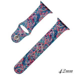Sea life print silicone watch band for smart watches. Fits the 42mm size smart watch.