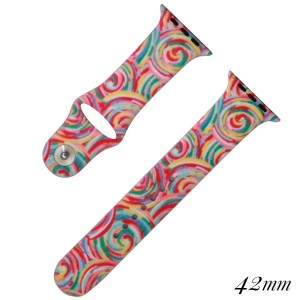 Candy swirl print silicone watch band for smart watches. Fits the 42mm size smart watch.