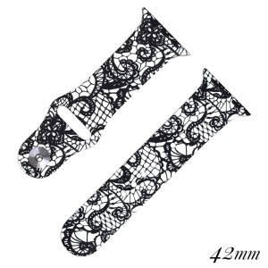 Lace print silicone watch band for smart watches. Fits the 42mm size smart watch.