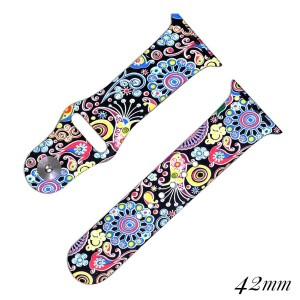 """Floral print silicone watch band for smart watches. Fits the 42mm size smart watch. Fits apple watch Approximate 5 1/2"""" in length."""
