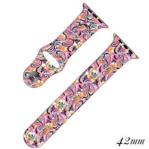"Paisley print silicone smart watch band. Fits a 42mm size smart watch. Approximately 5 1/2"" in length."