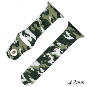 Camouflage print silicone watch band for smart watches. Fits the 42mm size smart watch.