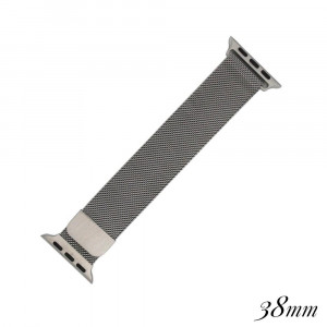 "Silver metal magnetic watch band for smart watches. Fits the 38mm size smart watch. Fits apple watch. Approximate 4"" in length."