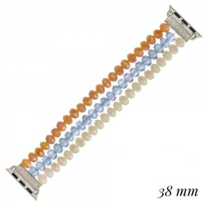 """Interchangeable multicolor faceted beaded stretch smart watch band/bracelet. WATCH NOT INCLUDED. Approximately 4.5"""" in diameter. Fits up to a 7"""" wrist.  - 38mm"""