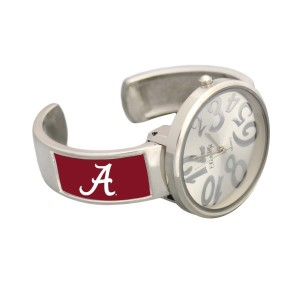 Officially licensed Alabama - Silver tone cuff design watch featuring whimsical silver tone watch face.