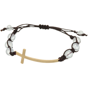 Brown cord adjustable bracelet featuring clear beads with a gold tone horizontal east-west cross focal.