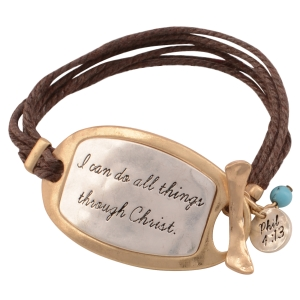 "Brown chord toggle bracelet featuring a two tone plate stamped ""I can do all things through Christ."", a turquoise bead, and a silver tone disk stamped ""Phil 4:13"". Approximately 7"" in length."
