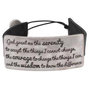 "Black faux leather bracelet with a burnished silver tone plate stamped with the Serenity Prayer. Approximately 6"" in length."
