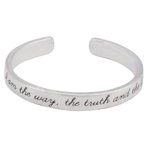 "Worn silver tone cuff bracelet stamped ""I am the way, the truth and the life""."