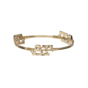 Gold tone Delta Gamma wire wrapped bangle bracelet.