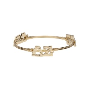 Gold tone Delta Zeta wire wrapped bangle bracelet.