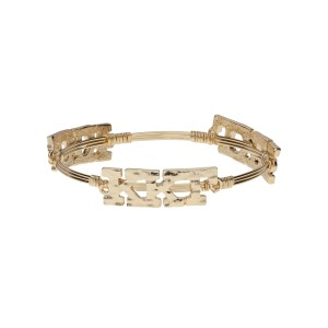 Gold tone Kappa Kappa Gamma wire wrapped bangle bracelet.