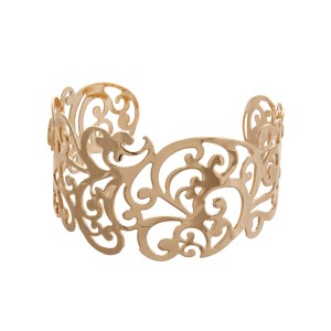 Gold tone cutout filigree design cuff bracelet.