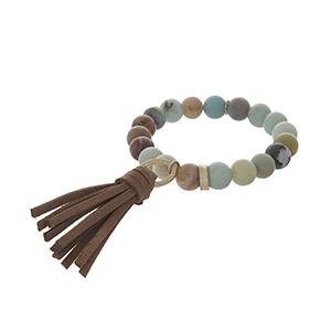 Amazonite stone brown tassel stretch bracelet.