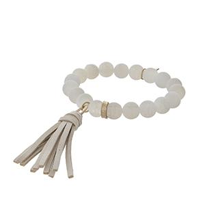 Matte white agate tassel stretch bracelet.