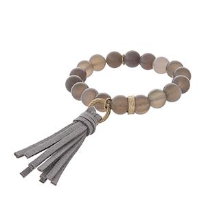 Gray agate tassel stretch bracelet.