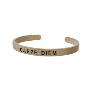 """Burnished gold tone cuff bracelet stamped with """"CARPE DIEM."""""""