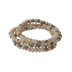 Iridescent blue and gray beaded wrap stretch bracelet with gold tone beads.