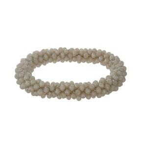 Gray beaded stretch bracelet.