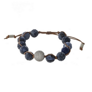 Brown cord bracelet with sodalite natural stone faceted beads and a pave bead focal. Handmade in the USA.
