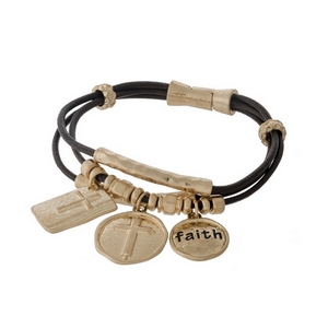 Brown, genuine leather magnetic bracelet with gold tone cross and faith charms.
