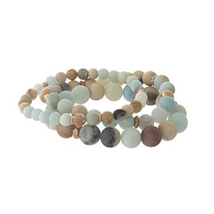 Three piece amazonite, natural stone, beaded bracelet set.