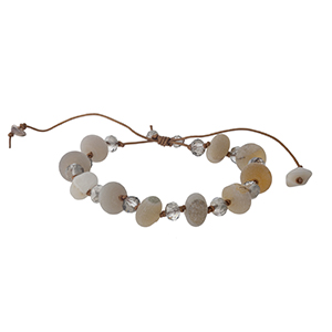 Brown waxed cord bracelet with gray natural stones. Handmade in the USA.