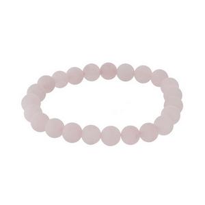Rose quartz natural stone beaded bracelet with a matte finish.