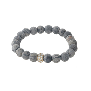 Gray jasper beaded stretch bracelet with a gold tone pave accent bead. Stones are approximately 10mm in size.