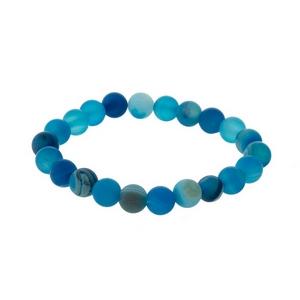 Teal, natural stone beaded stretch bracelet.