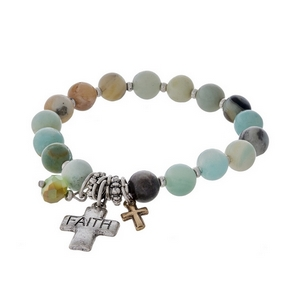 """Amazonite beaded stretch bracelet featuring silver cross charms stamped with """"Faith."""""""