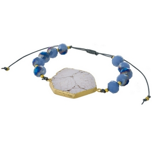 Blue beaded pull-tie bracelet featuring a white marbled natural stone focal. Handmade in the USA.