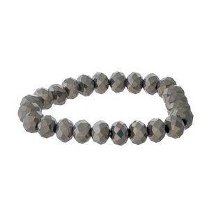 Hematite beaded stretch bracelet.