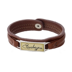"""Officially licensed, Ohio State University brown faux leather snap bracelet with a silver tone bar saying """"Buckeyes."""""""