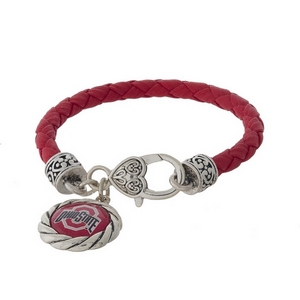 Officially licensed, Ohio State University faux leather bracelet with a silver tone clasp and a logo charm.