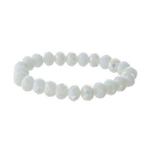 White iridescent beaded stretch bracelet.