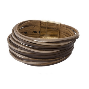 Brown faux leather, multi strand bracelet with a gold tone magnetic closure.