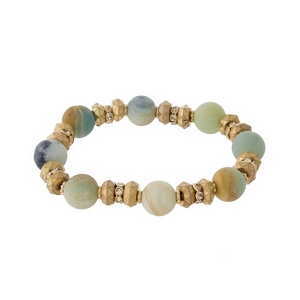 Gold tone and amazonite natural stone, beaded stretch bracelet with clear rhinestone accents.