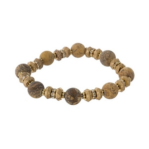Gold tone and picture jasper natural stone, beaded stretch bracelet with clear rhinestone accents.