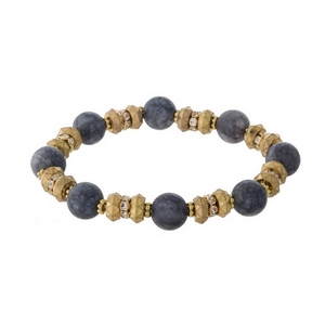 Gold tone and gray natural stone, beaded stretch bracelet with clear rhinestone accents.
