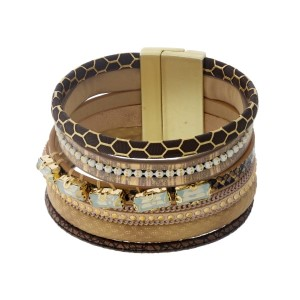 Brown, tan, and beige faux leather magnetic bracelet with opal rhinestones.